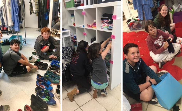 JCC campers help restock inventory at the Clothes To Kids of Fairfield County Store